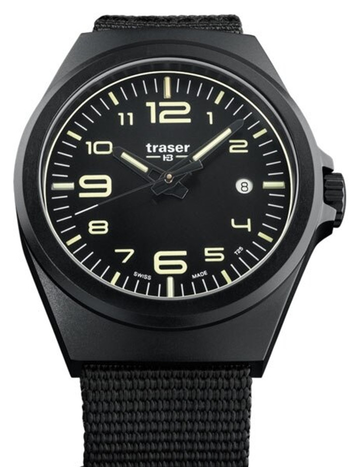 Traser P59 Essential M Black Dial Watch w/Trigalight + SuperLuminova #108218