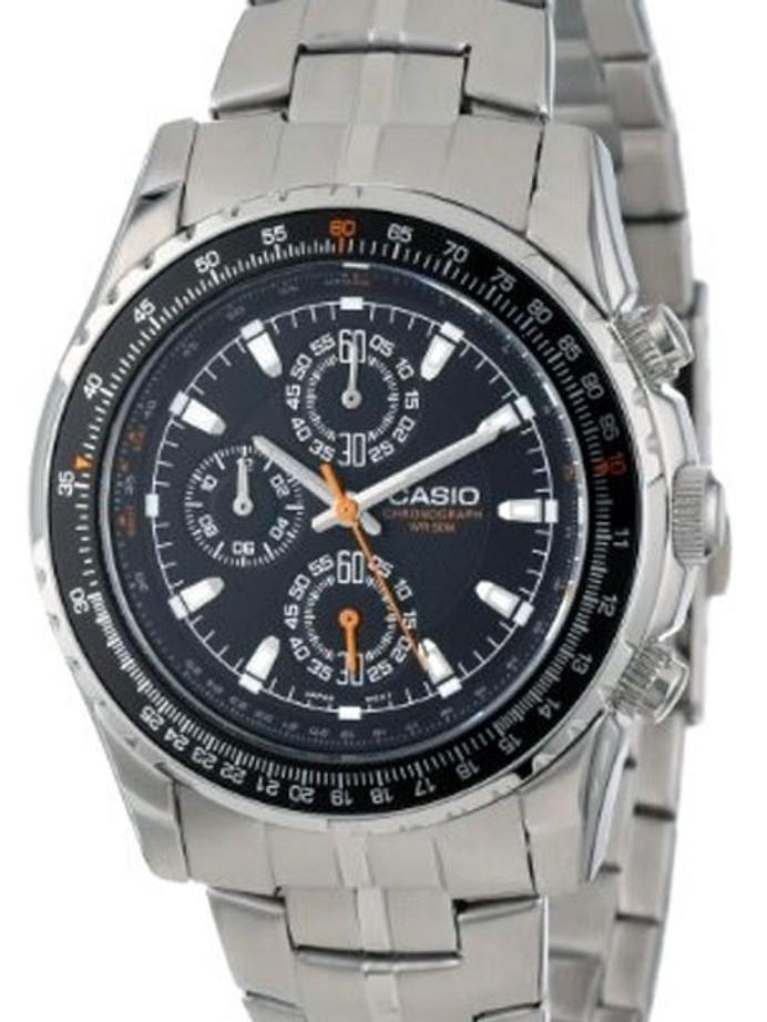 Casio Slide Rule Bezel Analog Chronograph Watch, Stainless Steel Bracelet #MTP-4500D-1AV