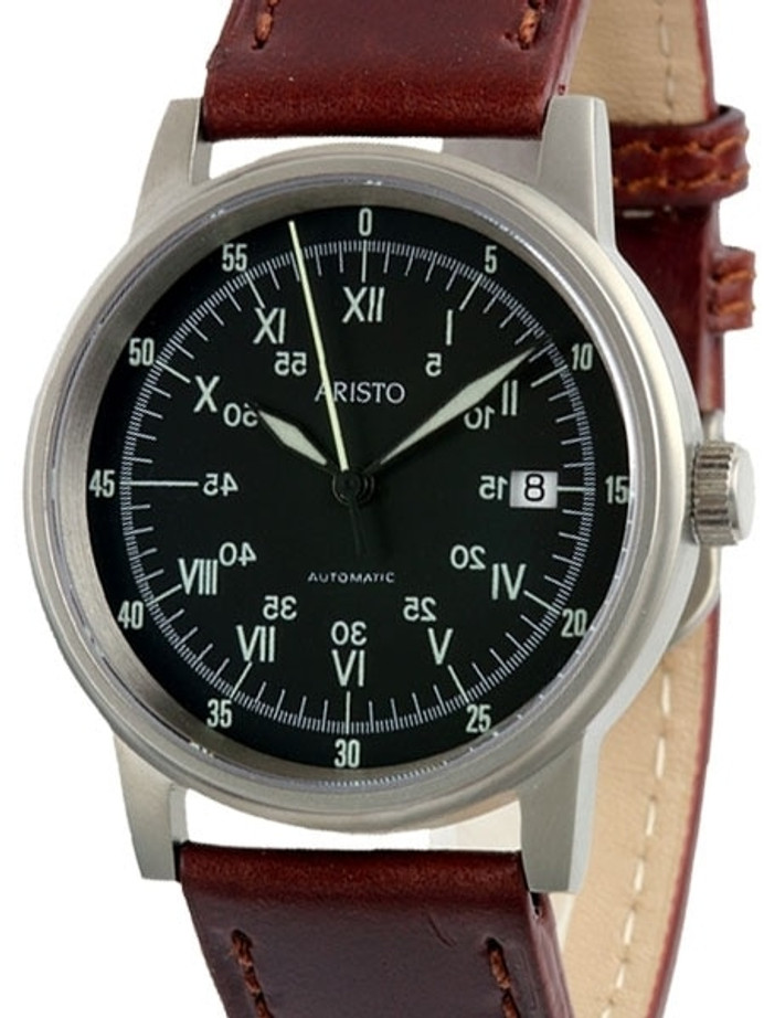 Aristo 5H87 Swiss Automatic Watch with Black Sextant Dial #5H87