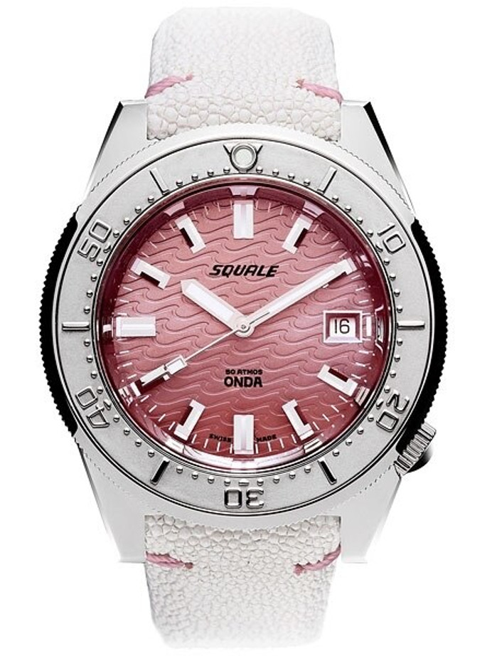 Squale 500 Meter Swiss Made Automatic Dive Watch with Pink Wave Dial  #1521-PK