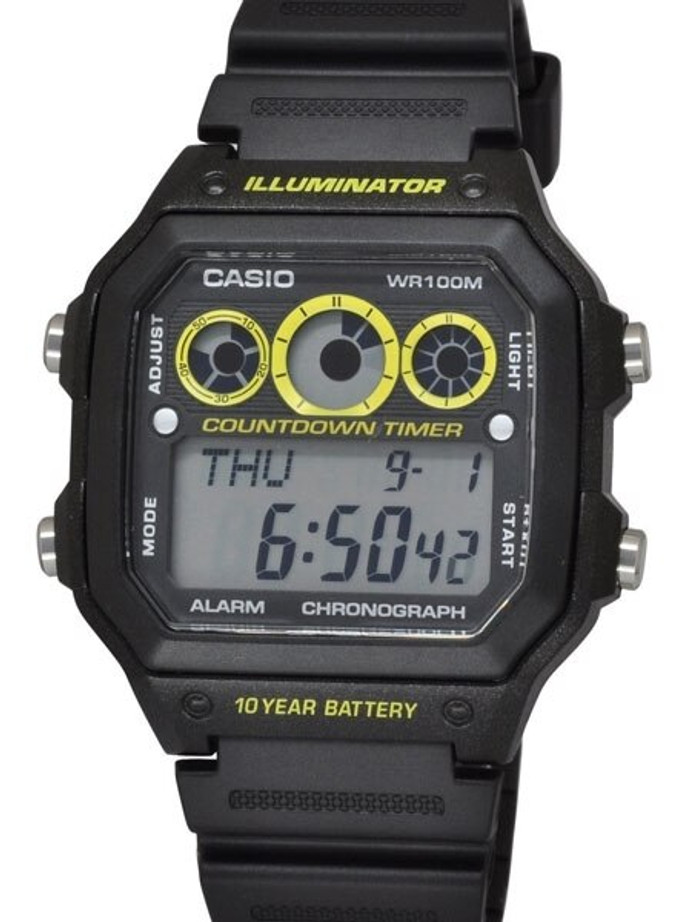 Casio Sport Watch with Stopwatch, World Time, Alarm, and 10-year Battery #AE-1300WH-1A