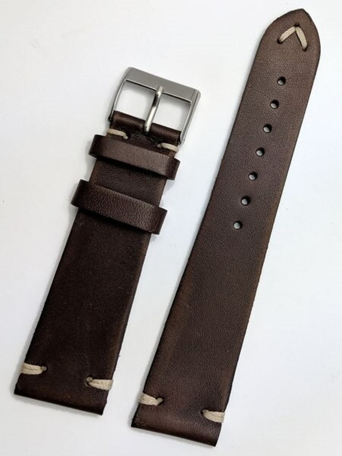 Toscana Vintage Style Brown Italian Leather Strap with Minimal Stitching #GR-069VI02