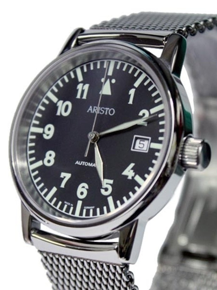 Aristo 4H11TU/4 Flight Watch with Mesh Bracelet and a Sapphire Crystal