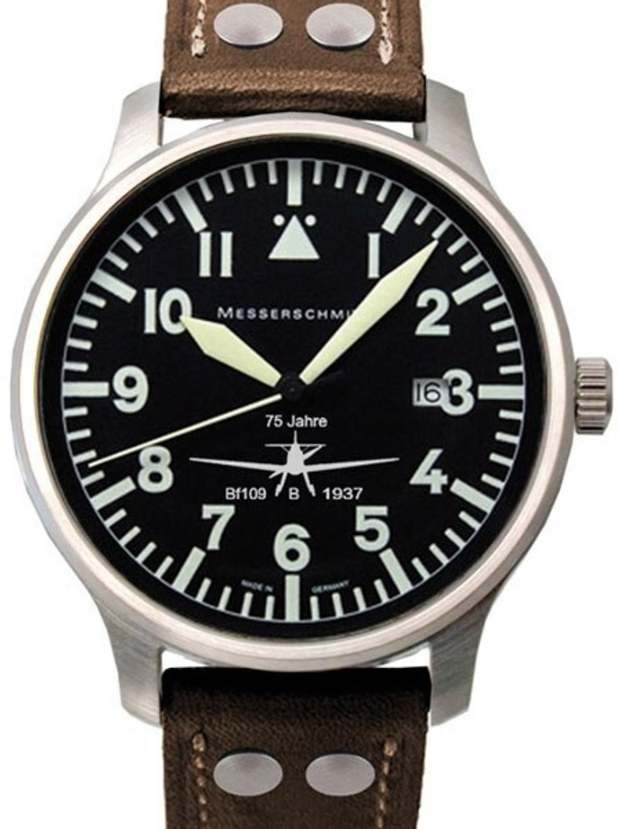 Messerschmitt Fliegeruhr Watch with Aviator Leather Strap #ME-42BF-109