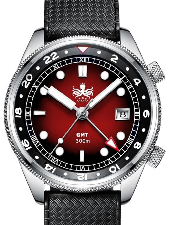 PHOIBOS Eagle Ray 300-Meter Dual-Time GMT Dive Watch with Double Dome AR Sapphire Crystal #PX023E