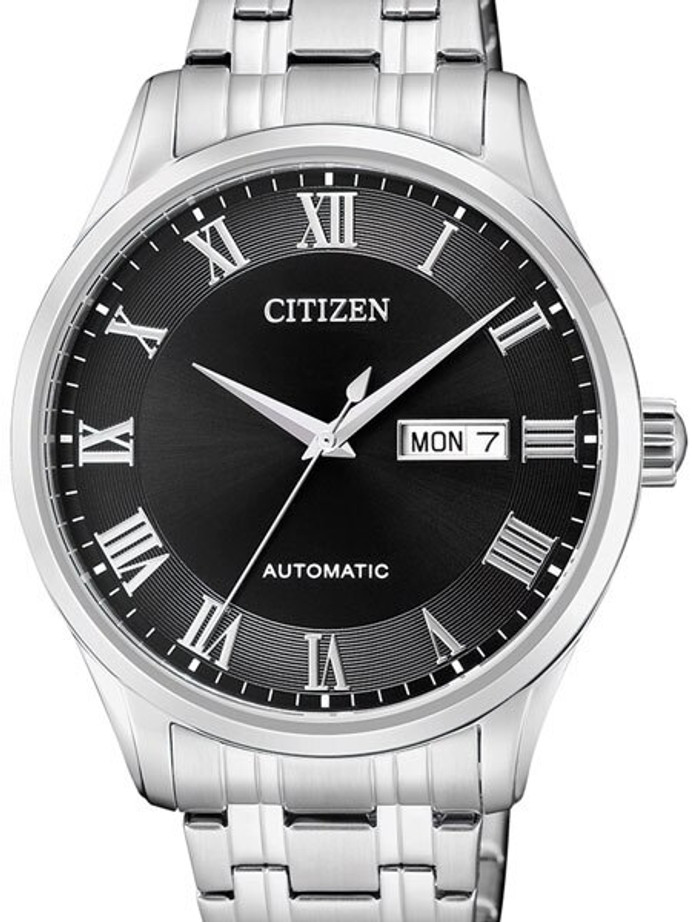 Citizen Automatic Black Dial Watch with Stainless Steel Bracelet #NH8360-80E
