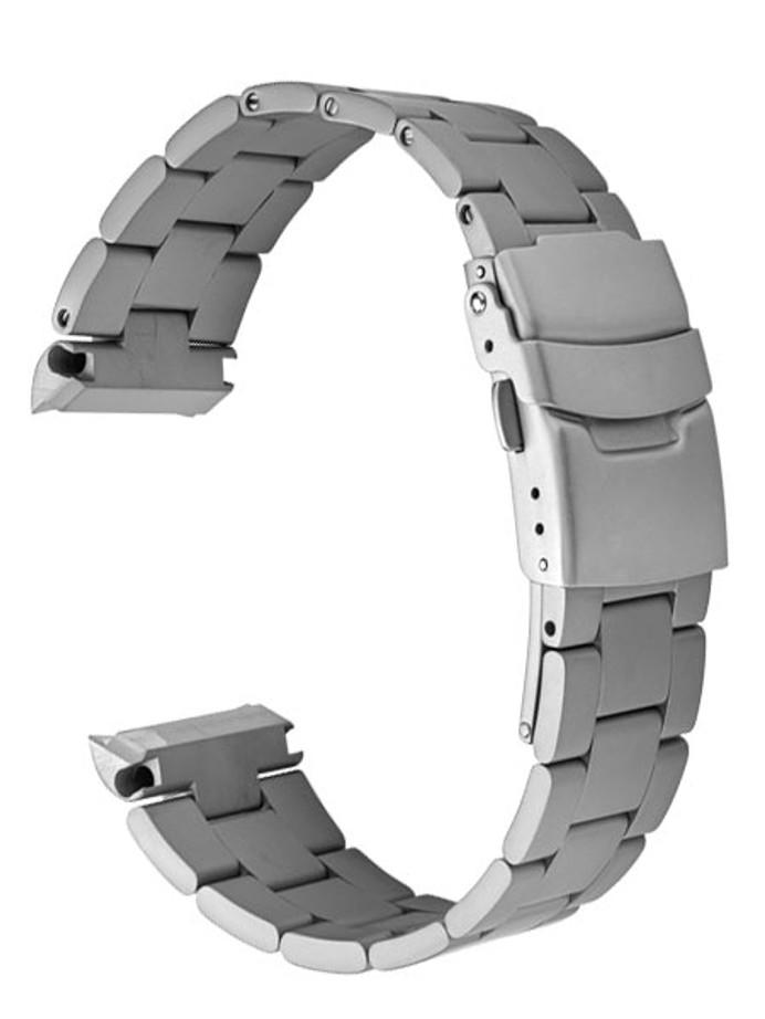 Islander 22mm Sandblasted Solid-Link Watch Bracelet for Islander ISL-11, ISL-12 Curved End #BRAC-01