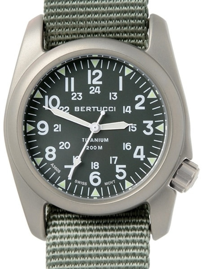 Bertucci A-2T Vintage Marine Green Titanium Watch with Olive Drab Nylon Strap #12030