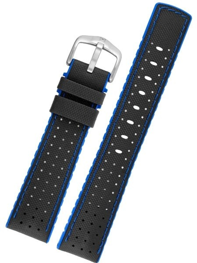 Hirsch ROBBY Sailcloth Effect Performance Watch Strap, Black and Blue #09180940-50