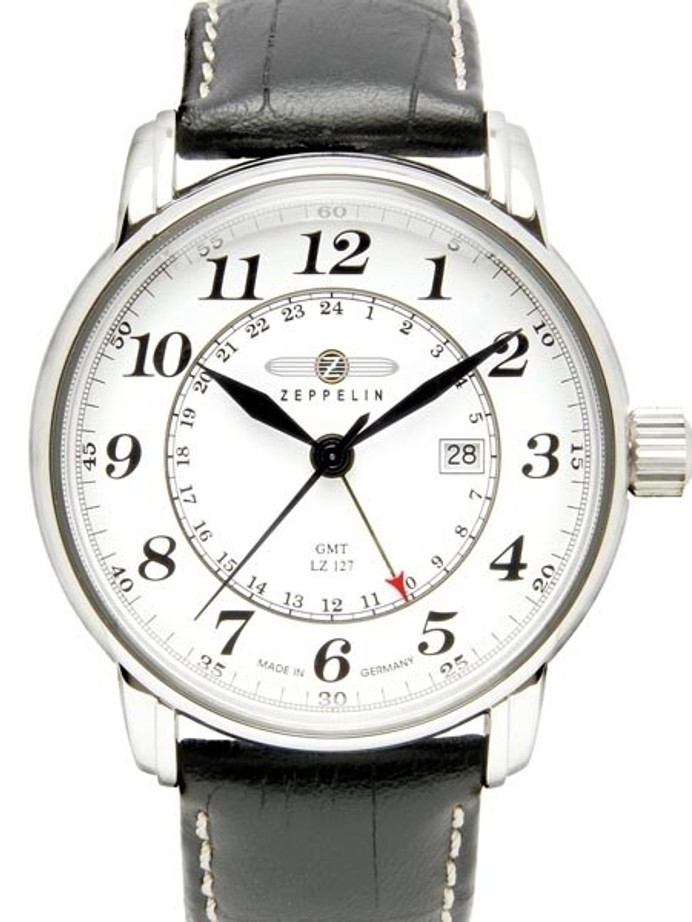 Graf Zeppelin Dual Time, GMT Watch with Red Tipped 24-hr Hand. #7642-1