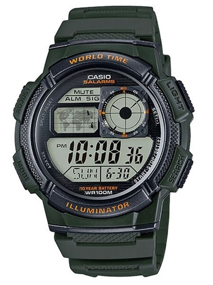 Casio Illuminator World Time Alarm Watch with 31 Time Zones #AE-1000W-3AV