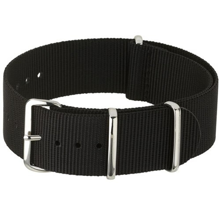 NATO-Style Black Nylon Strap with Stainless Steel Buckles  #NATO-10-SS