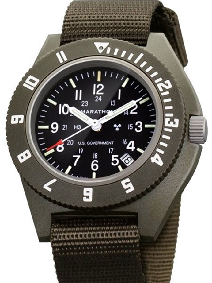 Marathon Swiss Made Quartz Military Navigator Pilot Watch with Tritium Illumination #WW194013SG