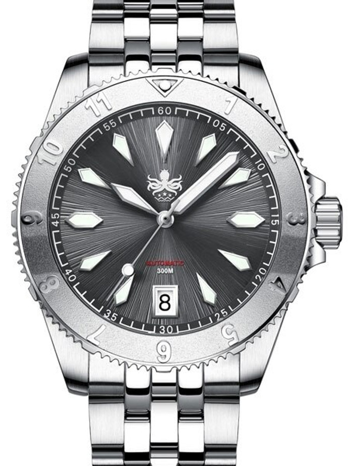 PHOIBOS Grey Voyager 300-Meter Automatic Dive Watch with Double Dome AR Sapphire Crystal #PY026E