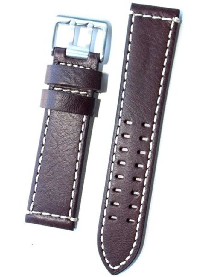 Toscana Brown Italian Leather Strap with Double-Tongue Buckle, Contrasting Stitching #EPBX-25780