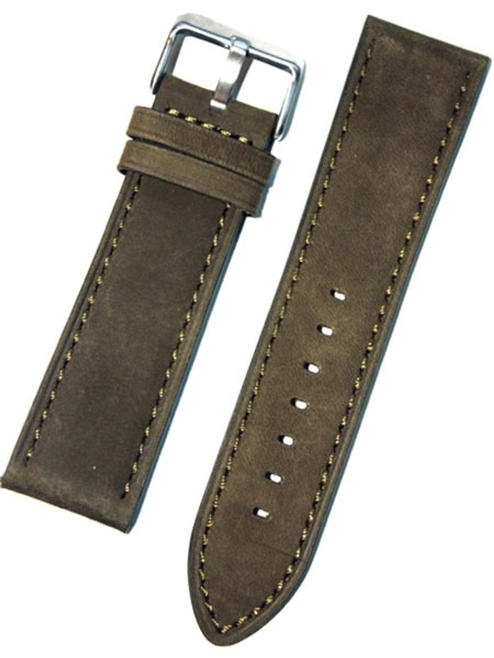 Panerai-Style Suede Olive Green Leather Strap with Matching Stitching #EBV-03870
