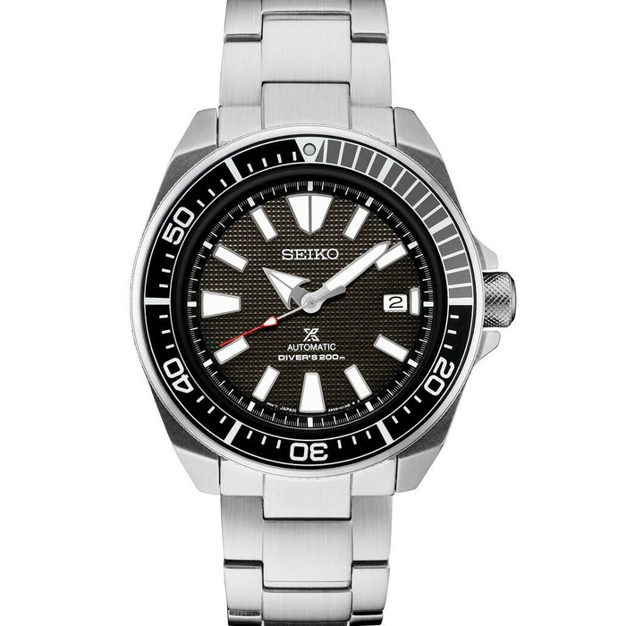 Seiko Samurai Prospex Automatic Dive Watch with Black Dial and Stainless Steel Bracelet #SRPF03