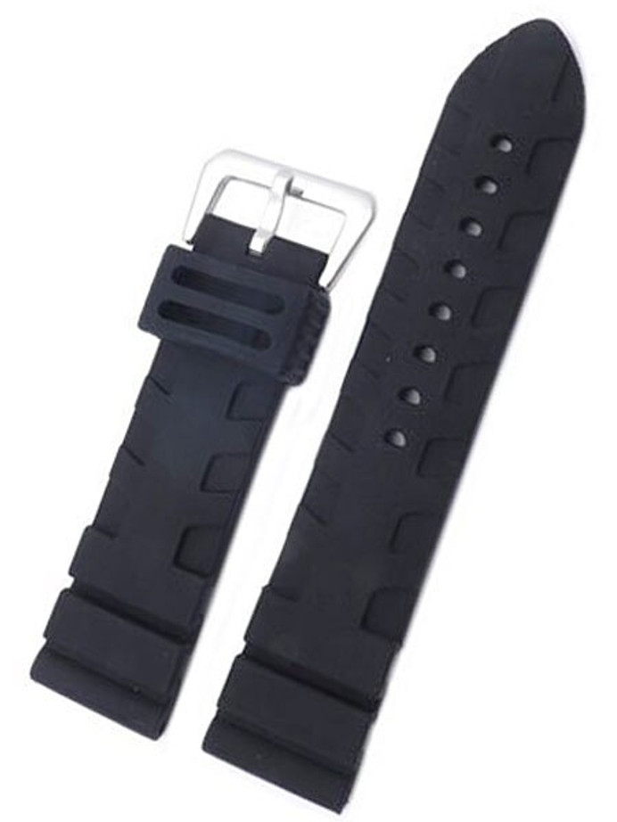 Black Silicone Rubber, Panerai Style, Flat Buckle Reversible Keeper #RUB-2-30
