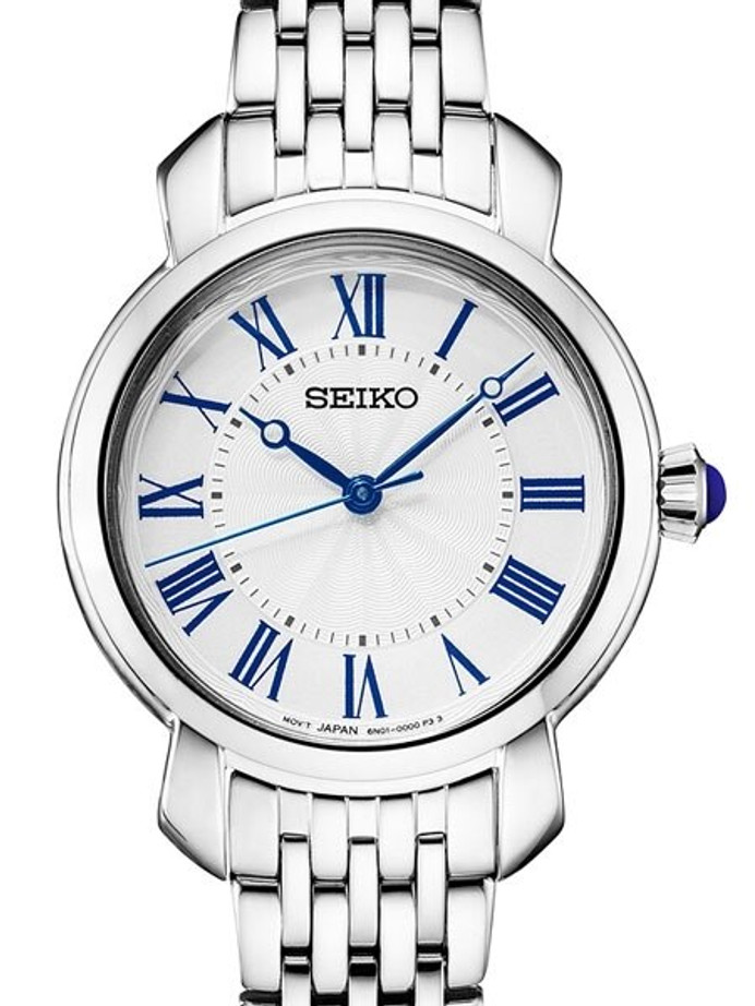 Seiko Ladies Quartz Dress Watch with White Dial, Blue hands and Numerals #SUR629