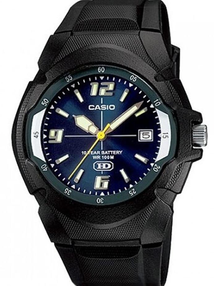 Casio Black Resin Quartz Analog Watch with a Radiant Blue Dial #MW-600F-2AV