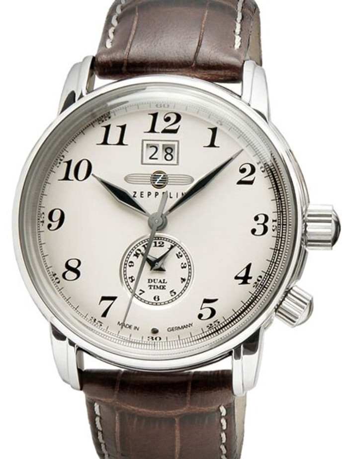 Graf Zeppelin German Made, Dual Time, Big Date Watch with Two Crowns. #7644-5
