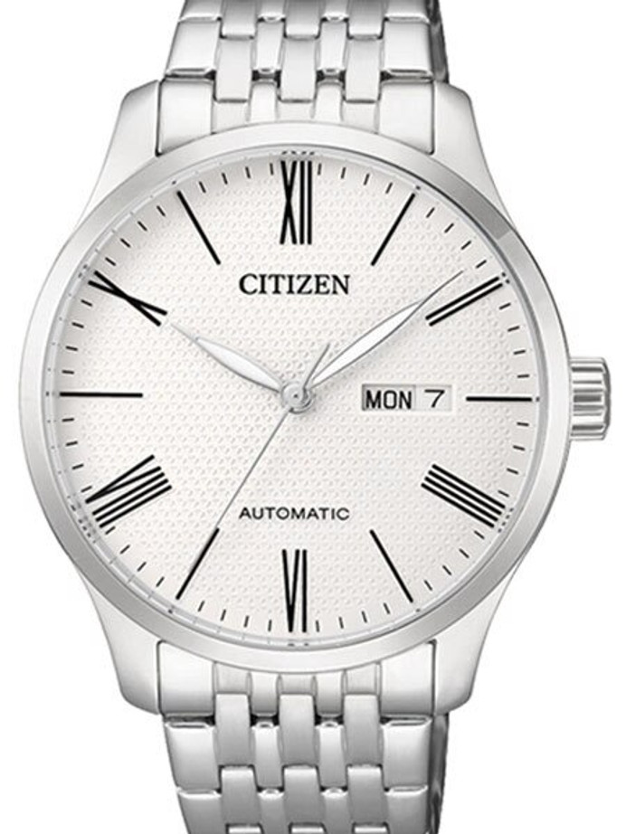 Citizen Automatic White Dial Watch with Stainless Steel Bracelet #NH8350-59A