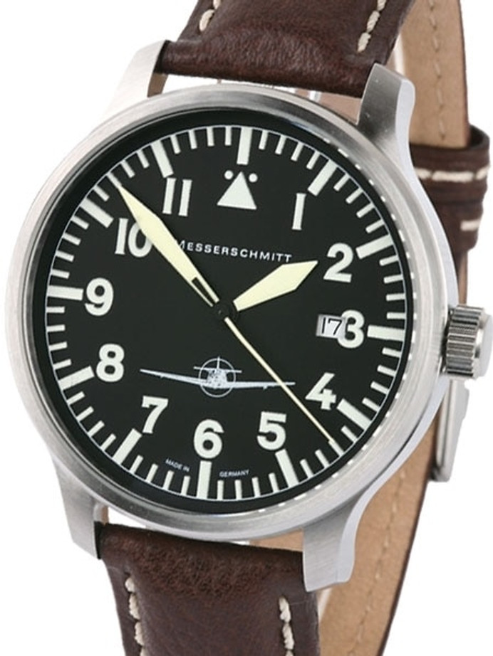 Messerschmitt Fliegeruhr Watch with Aviator Leather Strap #ME108-42B