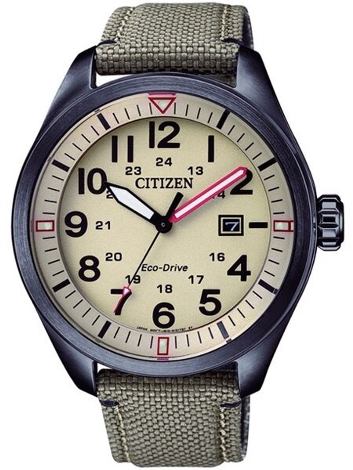 Citizen Military Watch Eco-Drive Beige Dial with Matching Nylon Strap #AW5005-12X