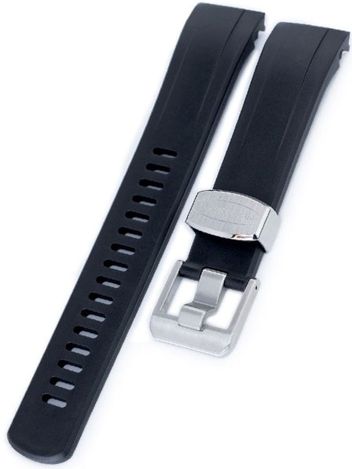 Crafter Blue 22mm Curved-End Rubber Watch Strap for Seiko Samurai #CB09-A