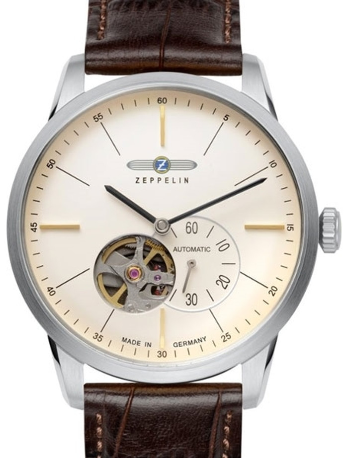 Graf Zeppelin Flatline Automatic Open-Heart Watch with Small Seconds #7364-5