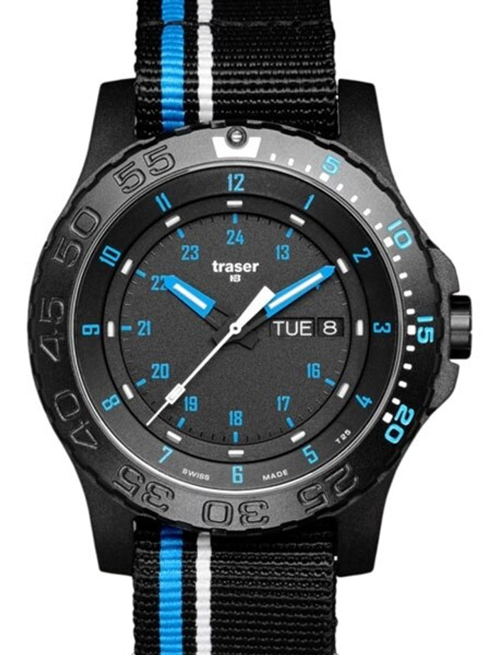 Traser Blue Infinity Watch with Sapphire Crystal and striped black NATO strap #105545