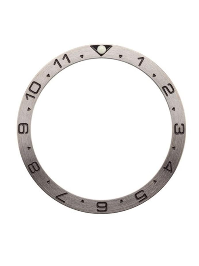 Brushed Steel Dual-Time Bezel Insert for Seiko SKX007, SKX009, SKX011 with Luminous PIP #C30