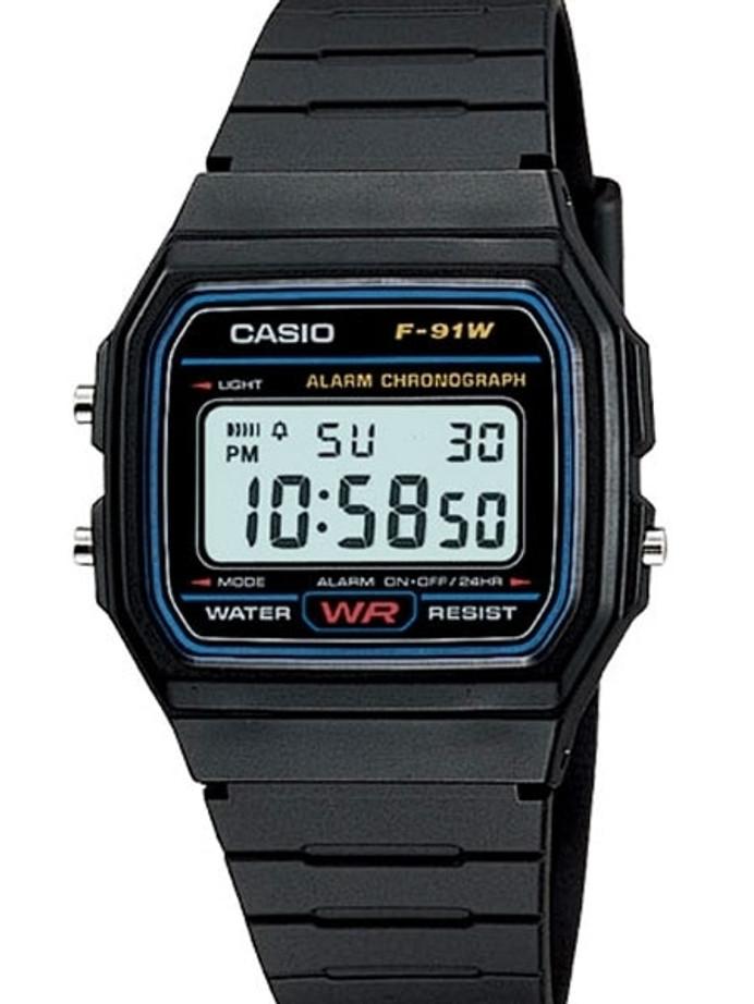 Casio Men's Classic Black Digital Resin Strap Watch #F-91W-1