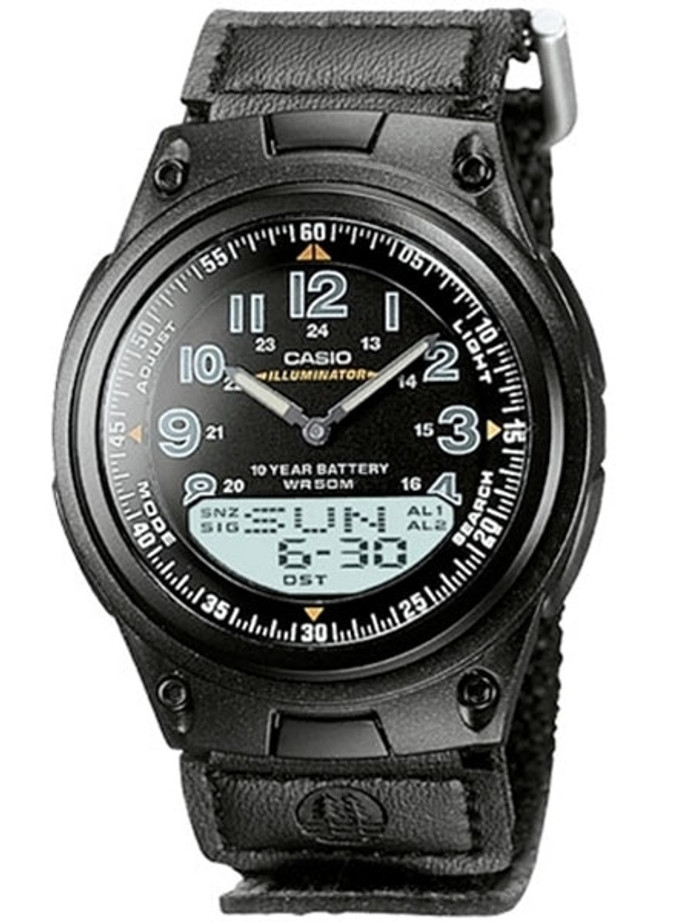 Casio Sports Analog-Digital Dual Time Watch with World Time #AW-80V-1BV