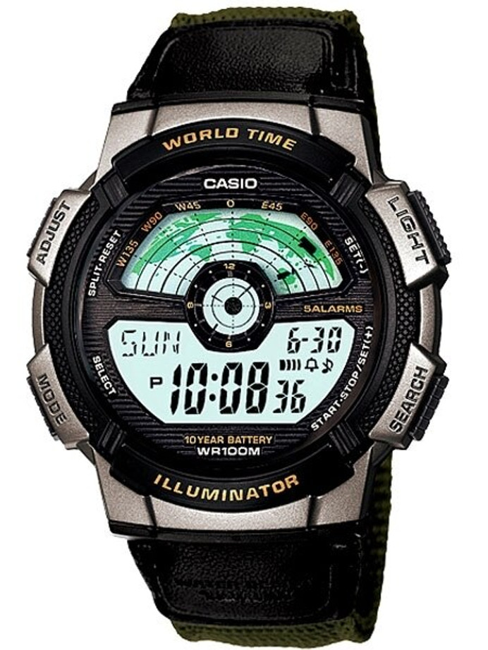 Casio Digital Sports-Style World Time Alarm Watch with 31 Time Zones #AE-1100WB-3AV