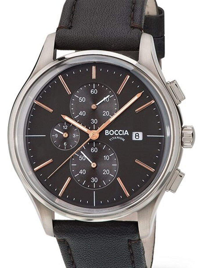 Boccia Mens Quartz Chronograph Watch with 12-Hour Totalizer and 41mm Titanium Case #3756-02