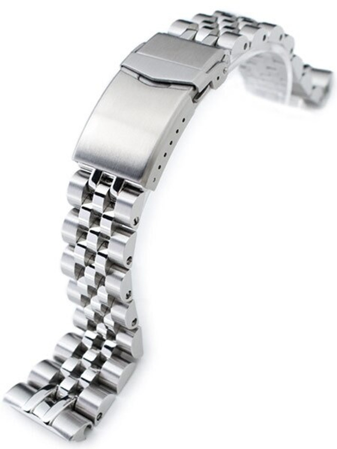 """Scratch and Dent - Strapcode 22mm ANGUS-J """"Louis"""" 316L Stainless Steel Watch Bracelet for Seiko Turtle Watches, Brushed, V-Clasp #SS221820B063"""