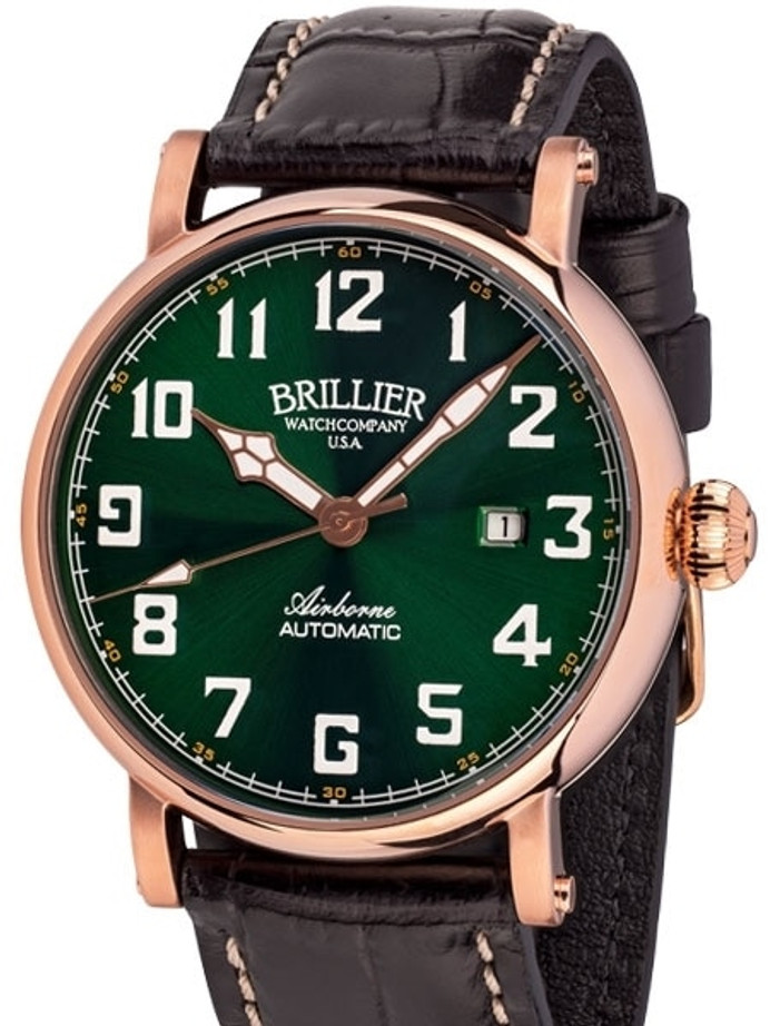 Brillier Green 43mm Airborne Automatic Watch with Horween Leather Strap #BR-17