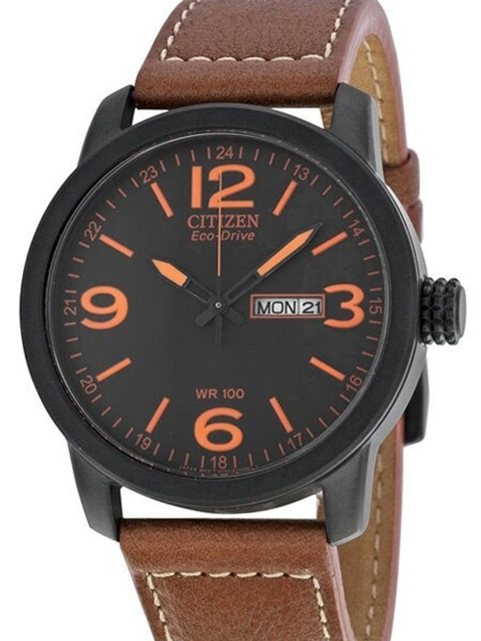 Citizen Eco-Drive Black PVD Sport Watch with Brown Leather Strap #BM8475-26E