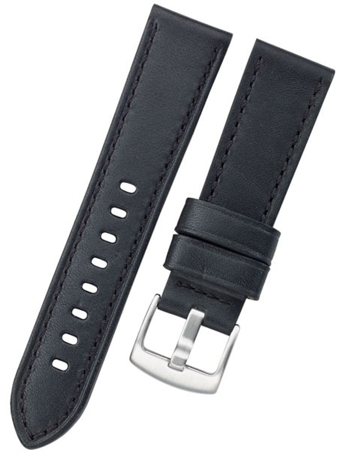 Horween Panerai-Style, Black Calfskin Leather with Stainless Steel Buckle #INS-HORPAN01