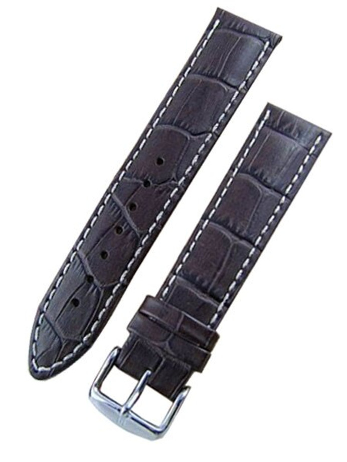 Hirsch Modena Brown Alligator Embossed Leather Watch Strap #103028-10