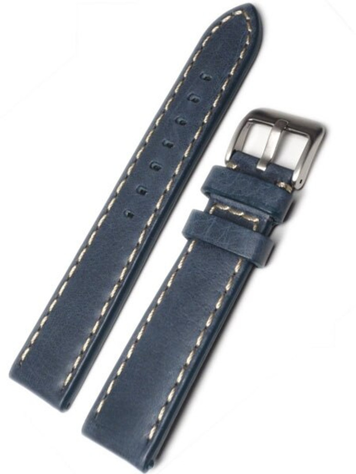 Panerai-Style Blue Leather Strap with Contrasting Stitching #LBV-98241