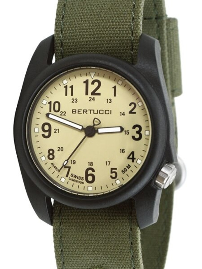 Bertucci DX3 Canvas Polycarbonate Unibody Watch, Evergreen Comfort Band, Saguaro Dial - 11093