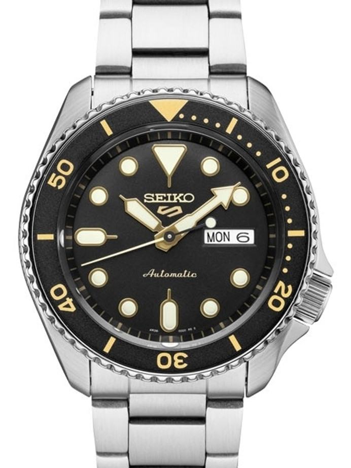 Seiko 5 Sports 24-Jewel Automatic Watch with Black Dial and SS Bracelet #SRPD57