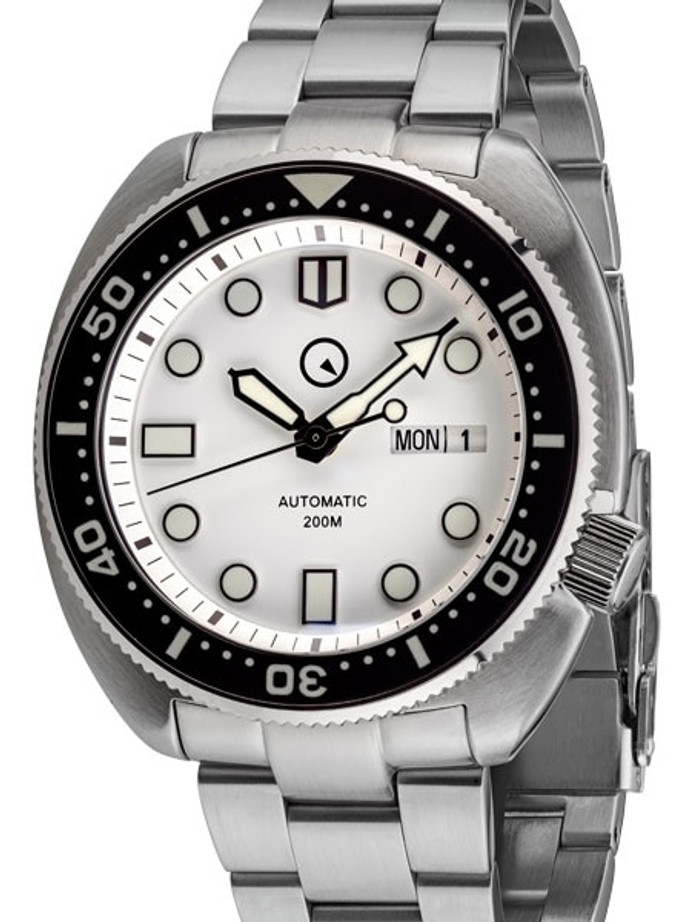Islander White Dial Automatic Dive Watch with AR Double Dome Sapphire Crystal, and Luminous Ceramic Bezel Insert #ISL-29