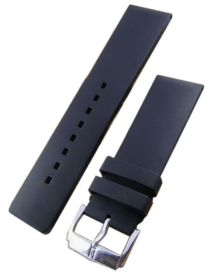 Hirsch Pure Black Premium Caoutchouc Watch Strap #405388-50
