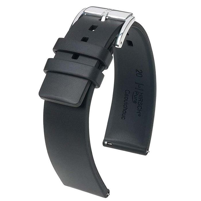 Hirsch Pure Black Premium Caoutchouc Natural Ruber Watch Strap #405388-50