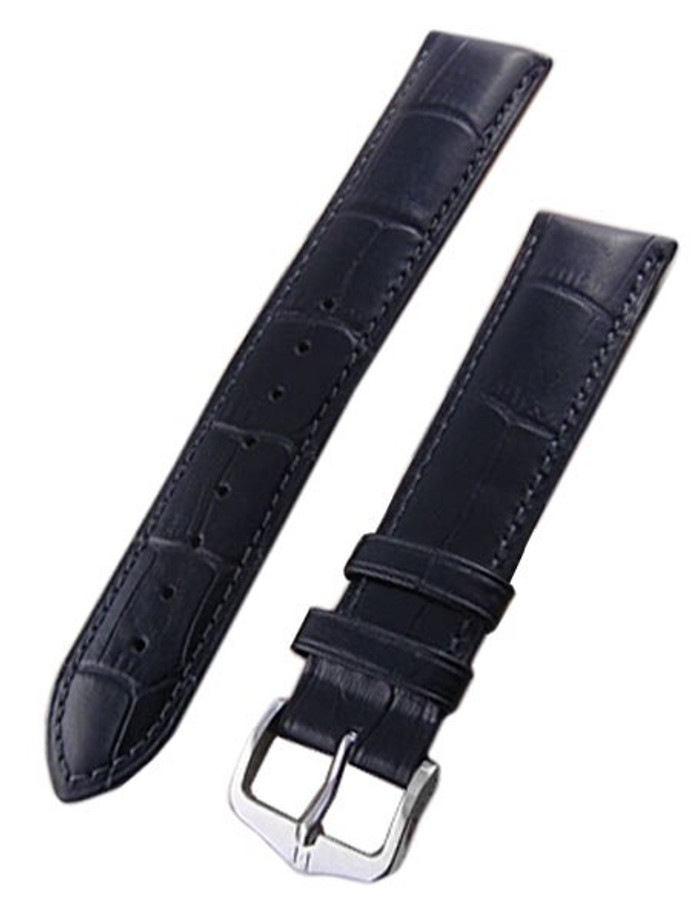 Hirsch Duke Black Alligator Embossed Natural Leather Watch Strap #010280-50