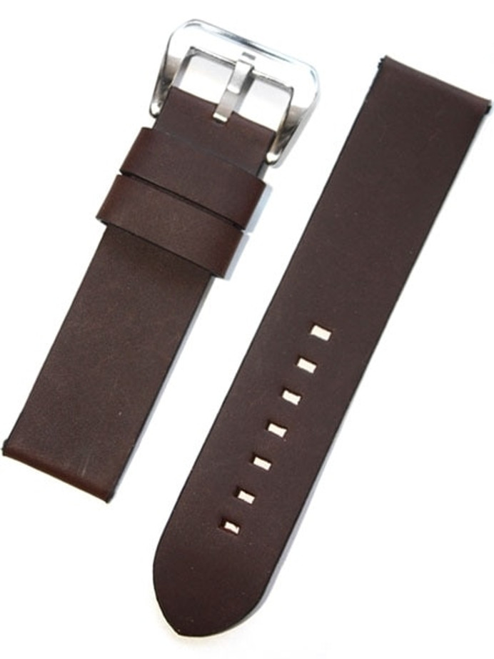 Panerai-Style Italian Vintage Dark Brown Leather Watch Strap #DIY-38380