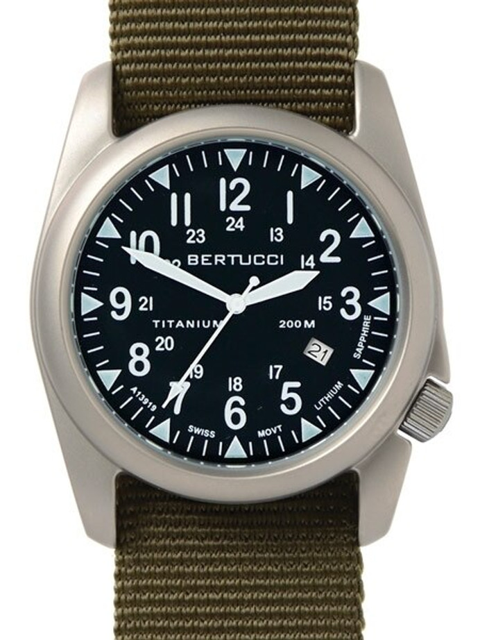 Bertucci A-4T Super Yankee Titanium Watch with Olive Nylon Strap #13478